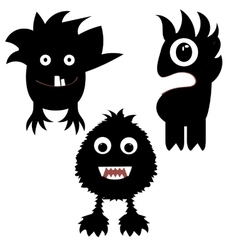 funny monsters painted black vector image