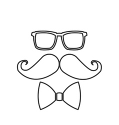 Glasses mustache bowtie icon vector