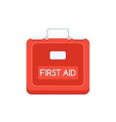 Red plastic first aid kit simplified icon vector