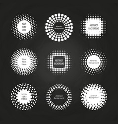 abstract round dotted banners - halftone labels vector image