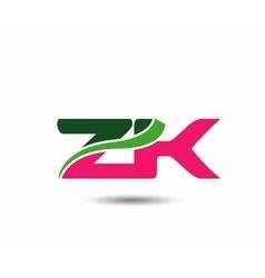 Alphabet z and k letter logo vector