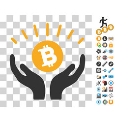 Bitcoin prosperity hands icon with bonus vector