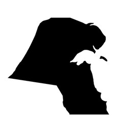Black silhouette country borders map of kuwait on vector