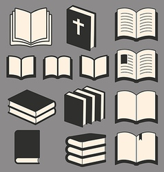 Book icons set vector image