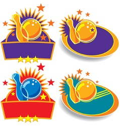Bowling emblems vector