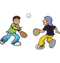 Boys Playing Catch vector image