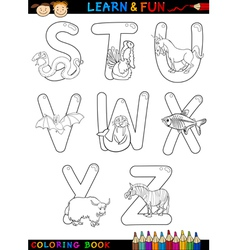 Cartoon Alphabet with Animals for coloring vector image