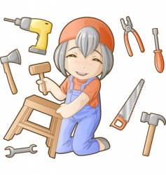 chibi professions sets repairer vector image vector image