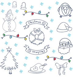 Christmas set doodle art vector image vector image