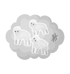 Count sheep icon in monochrome style isolated on vector