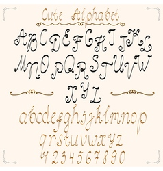 Cute calligraphical alphabet vector image vector image