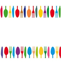 Cutlery colorful background vector image vector image