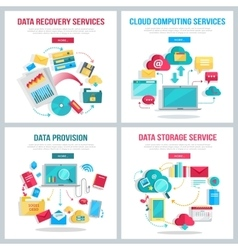 Data services banners set vector
