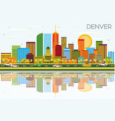 Denver skyline with color buildings blue sky and vector