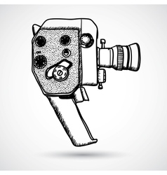 Doodle Vintage movie camera vector image vector image