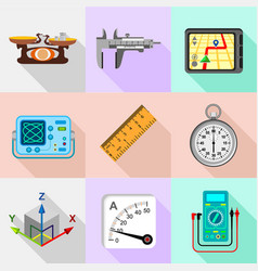 Engineering tools icons set flat style vector
