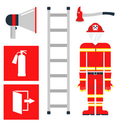 fire safety equipment emergency tools firefighter vector image vector image