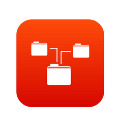 folders structure icon digital red vector image vector image