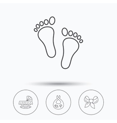 Footprint cradle and dirty bib icons vector image vector image