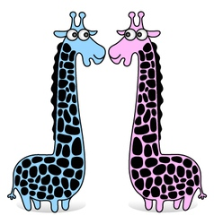 giraffes blue and pink vector image vector image
