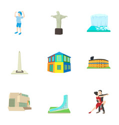 Holiday in brazil icons set cartoon style vector