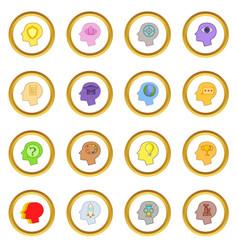 Human mind head icons circle vector