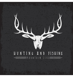Hunting and fishing mountain club emblem with duck vector
