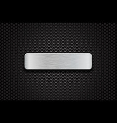 metal brushed plate on perforated dark steel vector image vector image