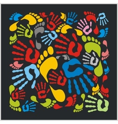 Mixed colour handprints and footprints - vector