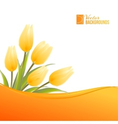 Orange card with tulips vector