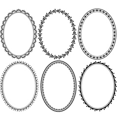 Ornate oval border vector