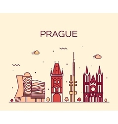 Prague skyline trendy linear vector image