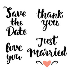 Save the date love you just married thank you vector