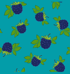Seamless pattern blackberry on azure background vector