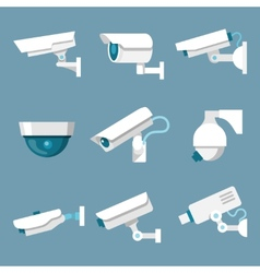 Security cameras icons set vector