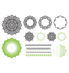 set elements from mandala frames brushes zen vector image vector image