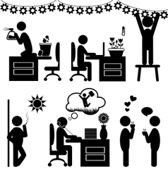 Set of flat office spring icons isolated on white vector