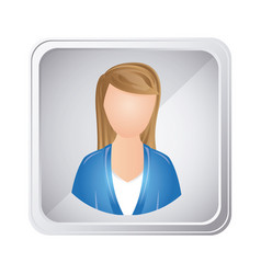 Silver emblem technical support woman assistant vector