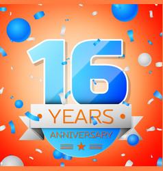 Sixteen years anniversary celebration vector