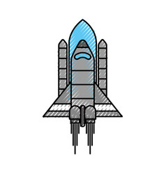 space rocket up and launch exploration symbol vector image