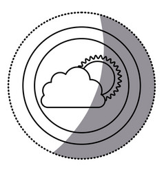 sticker monochrome circular frame with cloud and vector image vector image