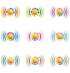The rainbow signal colour circle symbol icon vector