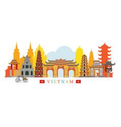 vietnam architecture landmarks skyline vector image