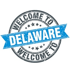 Welcome to delaware blue round vintage stamp vector