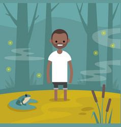 Young black character stuck in the swamp flat vector
