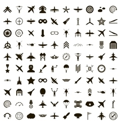 100 aviation icons set simple style vector image
