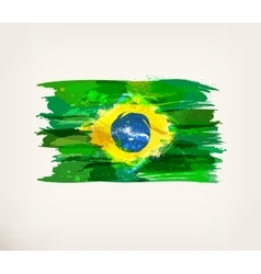 Watercolor hand drawn Brazilian flag vector image