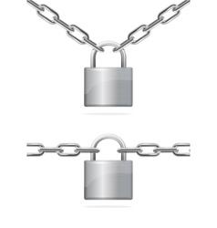Metal Chain and Padlock vector image