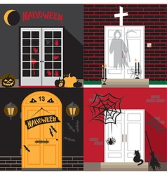 Halloween holiday door vector