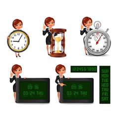 Cartoon business woman deadline set2 vector